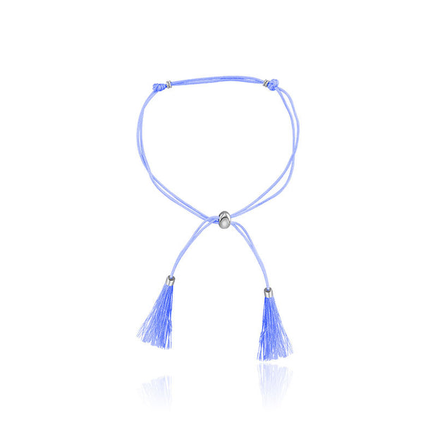 18k Gold Light Blue Tassel Bracelet with Gold Beads - Genevieve Collection