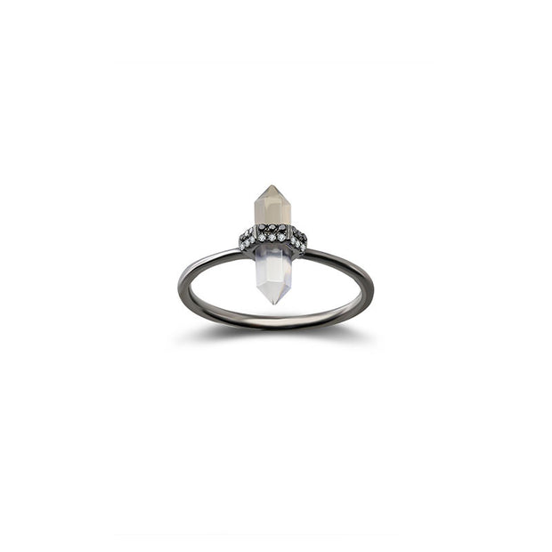 18k Gold Quartz Diamond Ring - Genevieve Collection