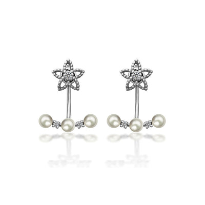 18k Gold Petite Fleur With Pearl Jacket Earring - Genevieve Collection