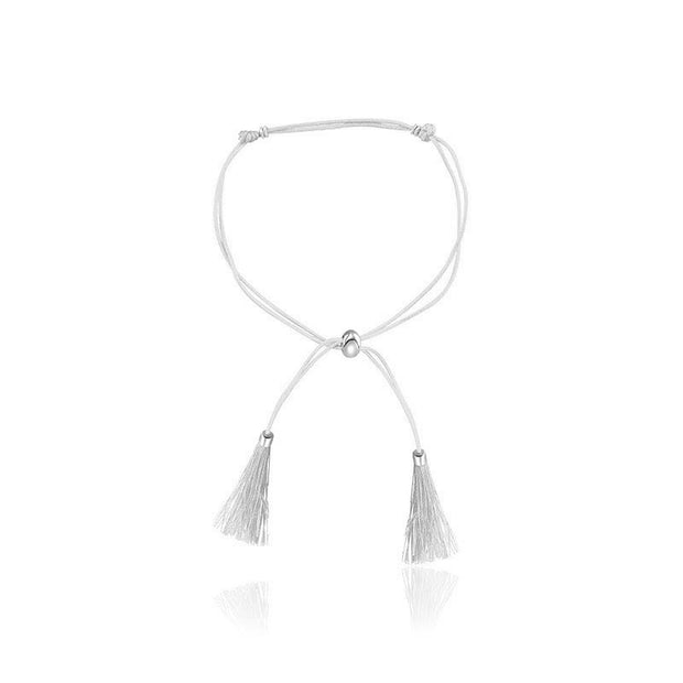18k Gold White Tassel Bracelet with Gold Beads - Genevieve Collection