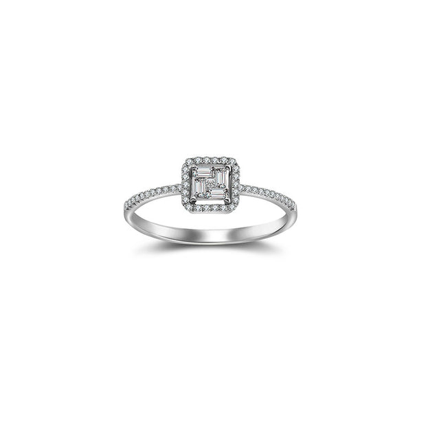 18k Gold Rectangle Shaped Diamond Ring - Genevieve Collection