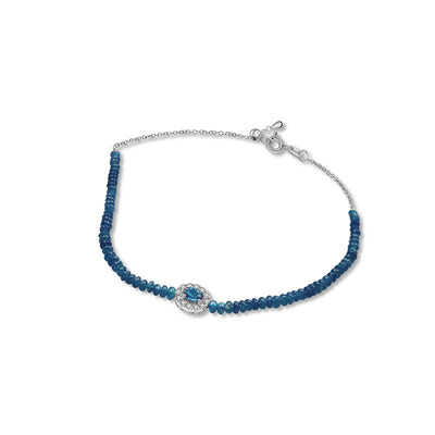 18k Gold Sapphire Beaded Diamond Bracelet - Genevieve Collection