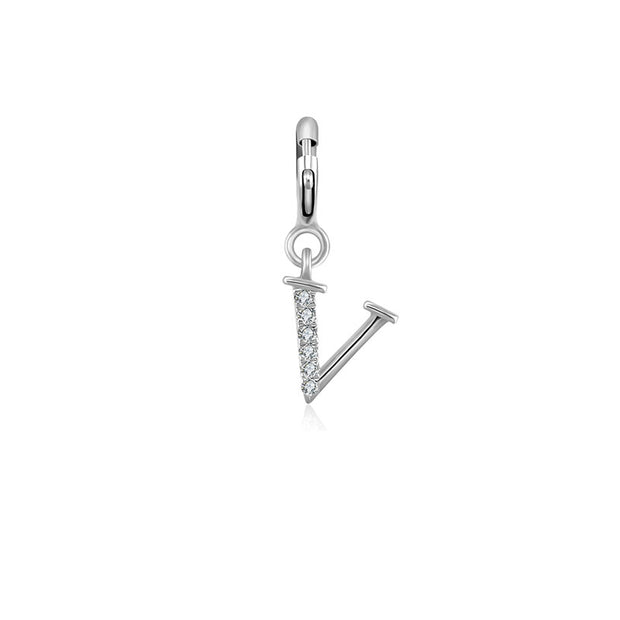 "18k Gold Letter ""V"" Diamond Charms - Genevieve Collection"