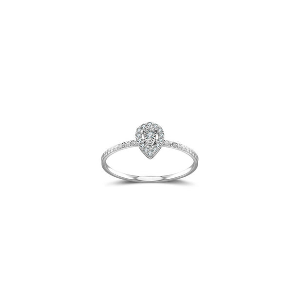 18k Gold Drop Shape Diamond Ring