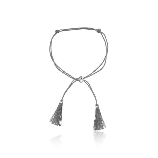 18k Gold Gray Tassel Bracelet with Gold Beads - Genevieve Collection