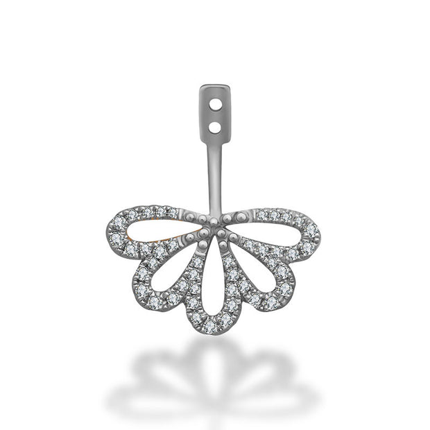 18K Gold Flower Shape Single Earring Jacket With Round Diamond (Half Pair) - Genevieve Collection