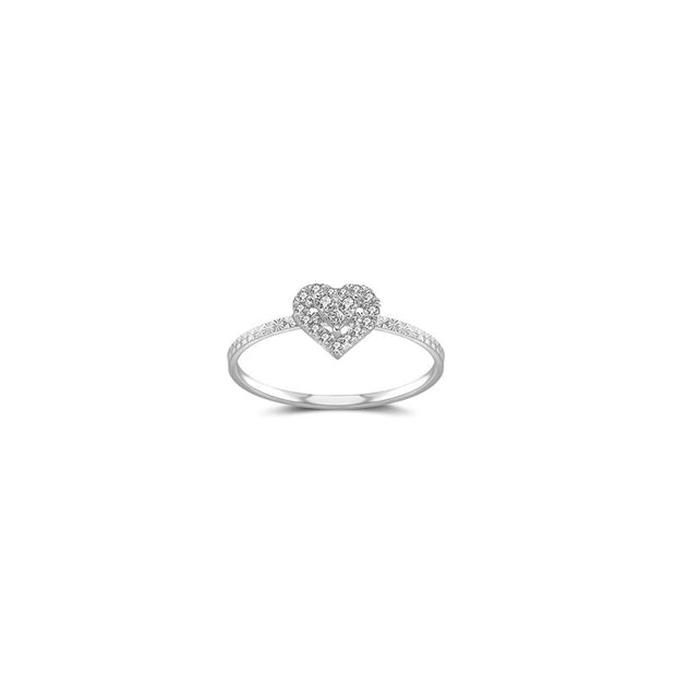 18k Gold Heart Shape Diamond Ring - Genevieve Collection