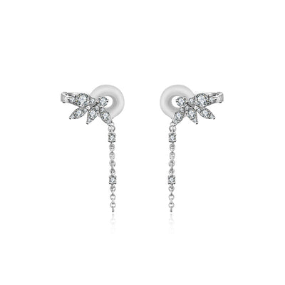 18k Gold Fan Shape Diamond Ear Cuff with Chain - Genevieve Collection