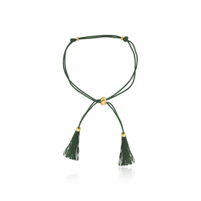 18k Gold Dark Green Tassel Bracelet with Gold Beads - Genevieve Collection