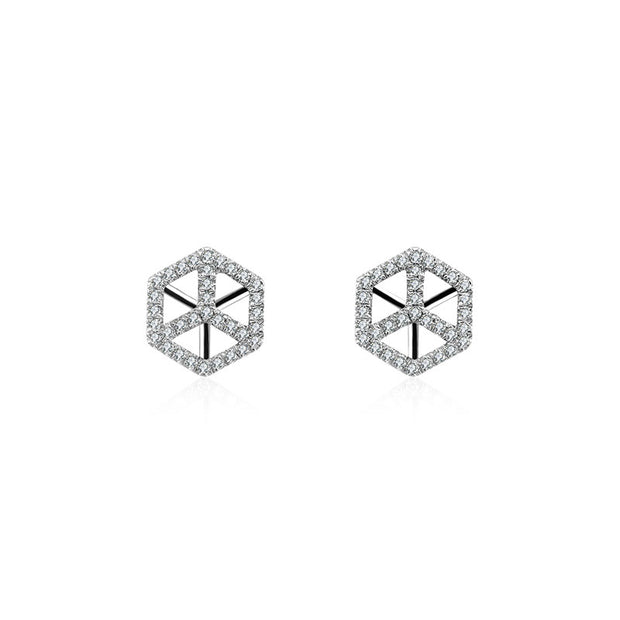 18k Gold Geometric Cube Diamond Earring - Genevieve Collection