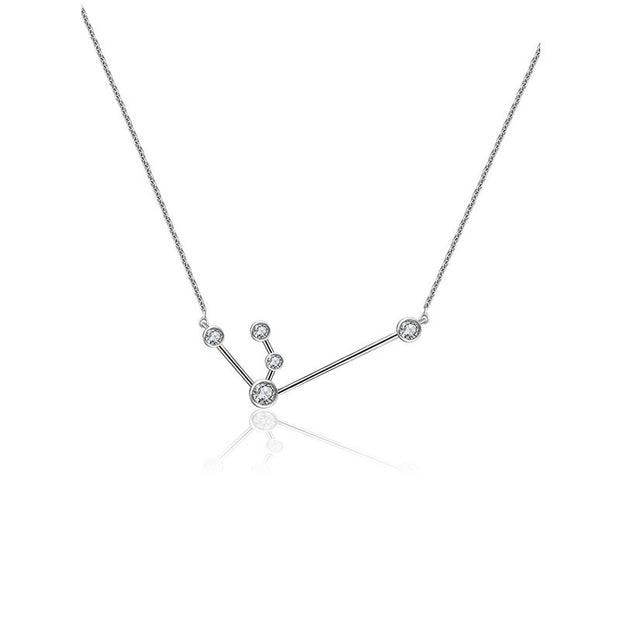 Aquarius Zodiac Constellation Necklace 18k Gold & Diamond - Genevieve Collection
