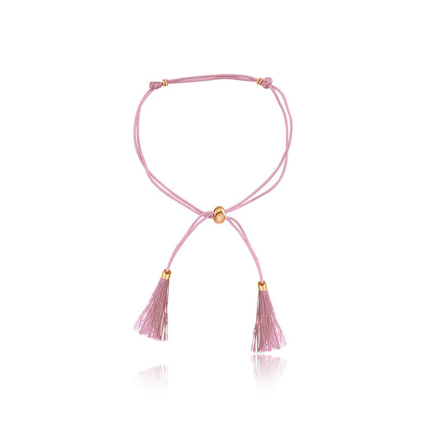 18k Gold Pink Tassel Bracelet with Gold Beads - Genevieve Collection