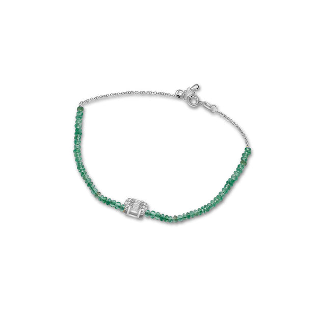 18k Gold Emerald Beaded with Square Shape Diamond Bracelet - Genevieve Collection