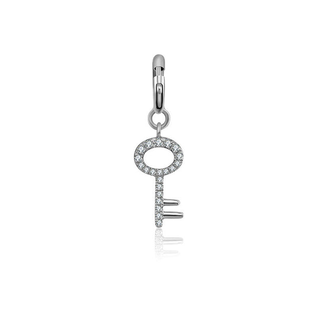 18k Gold Key Shape Diamond Charms - Genevieve Collection