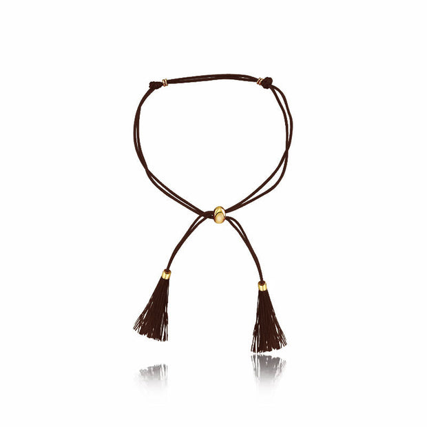 18k Gold Dark Brown Tassel Bracelet with Gold Beads - Genevieve Collection