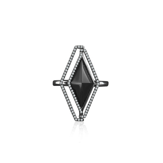 18k Gold Black Onyx Diamond Ring - Genevieve Collection