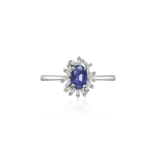 18k Gold Sapphire Ring Surrounded by Irregular Shape Diamond - Genevieve Collection