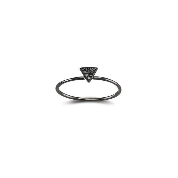 18k Gold Triangle Shape Pave Black Diamond Ring - Genevieve Collection