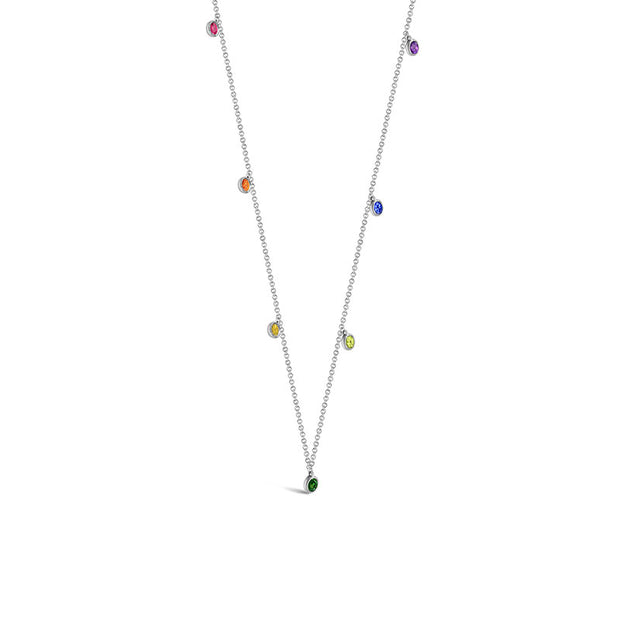 18k Gold Raindow Color Gemstone Necklace / Choker - Genevieve Collection