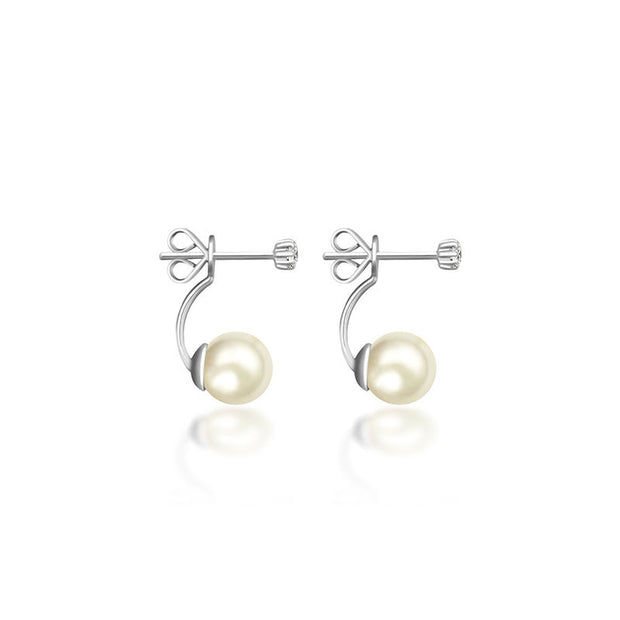 18k Gold Petite Diamond With Pearl Backing Earring - Genevieve Collection
