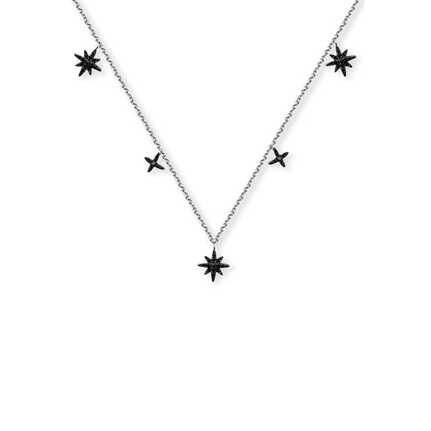 18k Gold Star Shape Black Diamond Necklace / Choker - Genevieve Collection