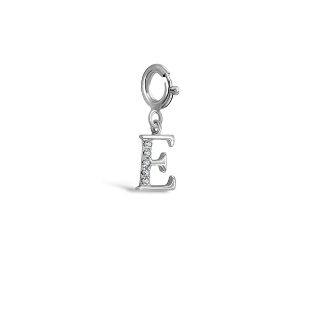 "18k Gold Letter ""E"" Diamond Charms - Genevieve Collection"