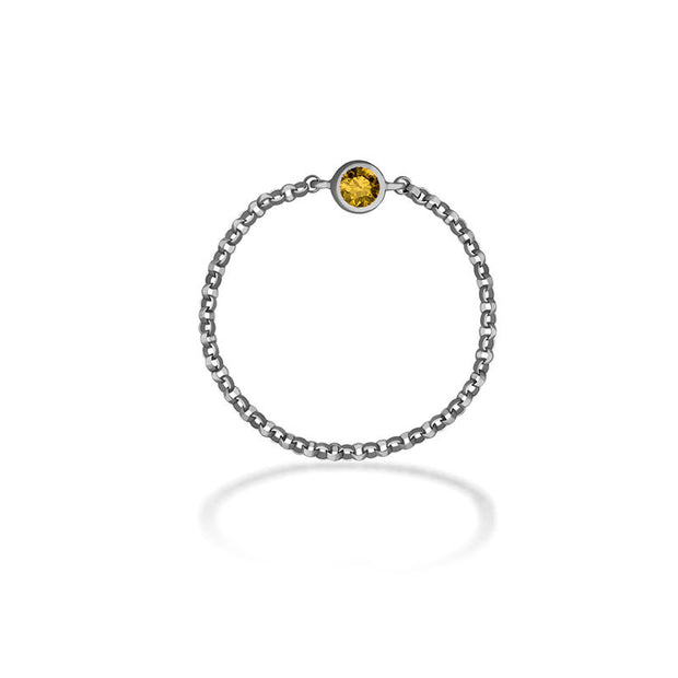 18k Gold November Birthstone Citrine Chain Ring - Genevieve Collection