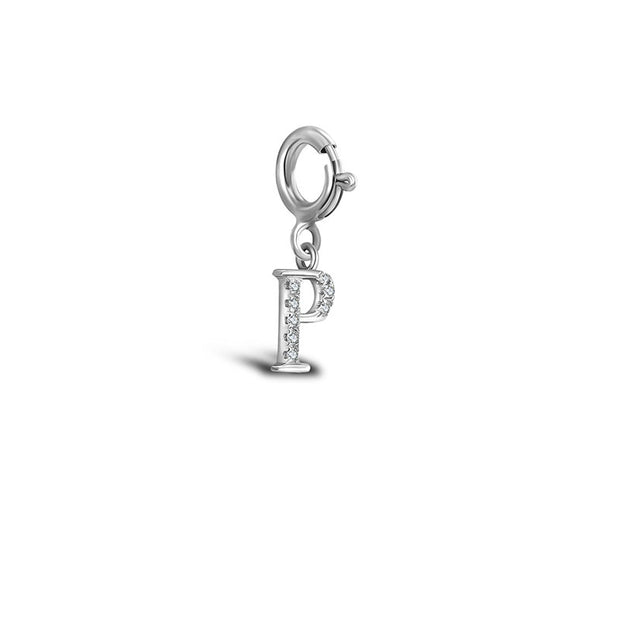 "18k Gold Letter ""P"" Diamond Charms - Genevieve Collection"