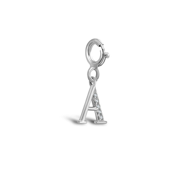 "18k Gold Letter ""A"" Diamond Charms - Genevieve Collection"