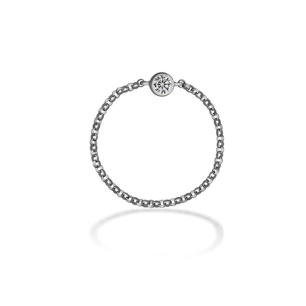 18k Gold April Birthstone Diamond Chain Ring - Genevieve Collection