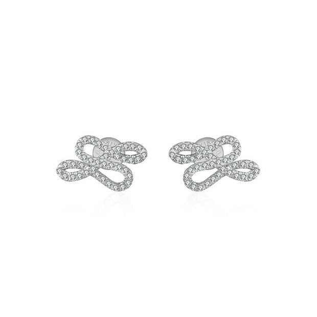 18k Gold Quadruple Curves Diamond Earring - Genevieve Collection