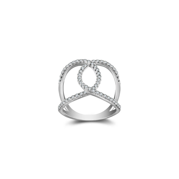 18k Gold Connected Curve Diamond Ring