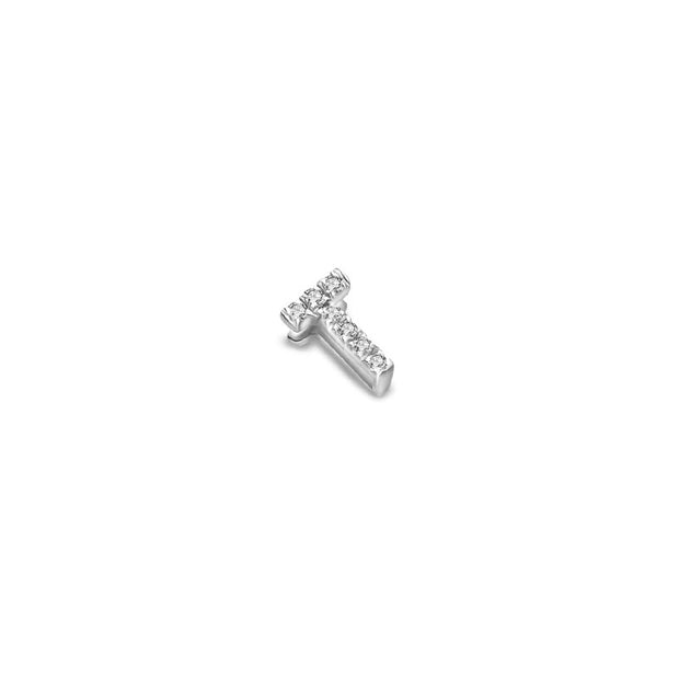 "18k Gold Initial Letter ""T"" Diamond Pendant - Genevieve Collection"