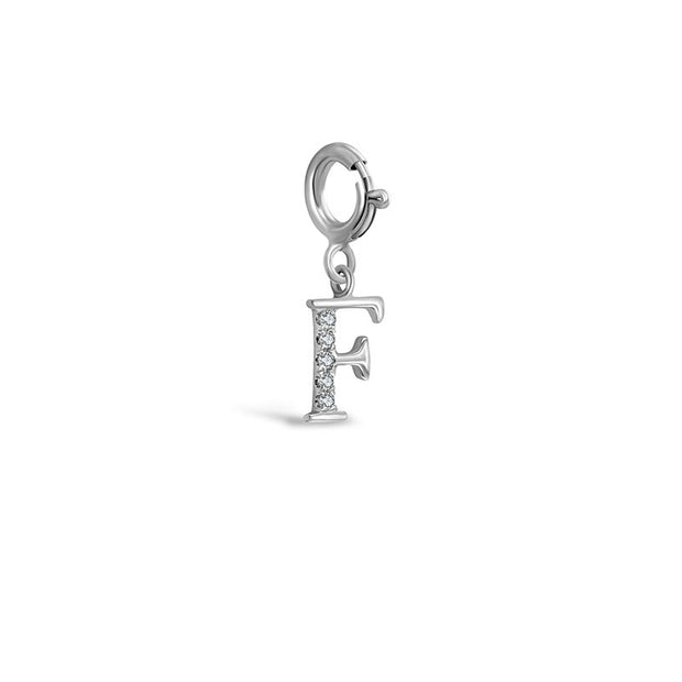 "18k Gold Letter ""F"" Diamond Charms - Genevieve Collection"
