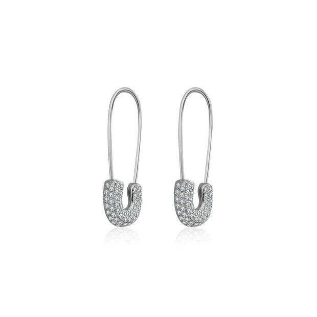 18k Gold Pin Shape Diamond Earring - Genevieve Collection