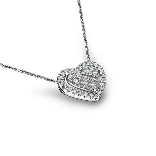 18k Gold Heart Shape Diamond Necklace - Genevieve Collection