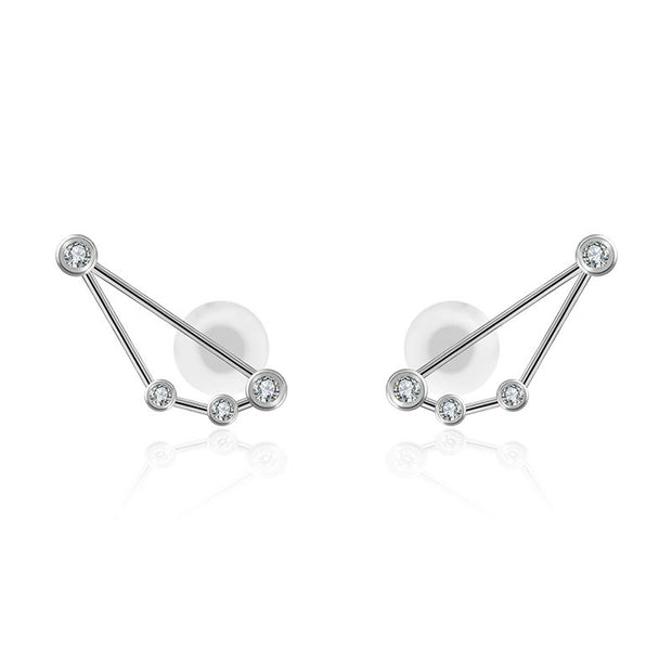 Capricorn Zodiac Constellation Earring 18k Gold & Diamond - Genevieve Collection