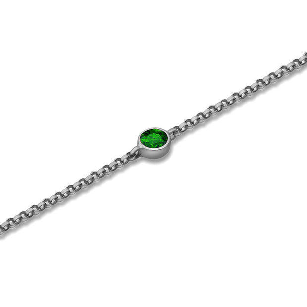 18k Gold May Birth Stone Emerald Bracelet - Genevieve Collection