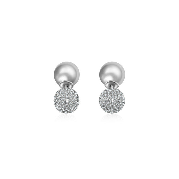 18k Gold 2 Ways Pearl Diamond Earring in Cone Shape - Genevieve Collection