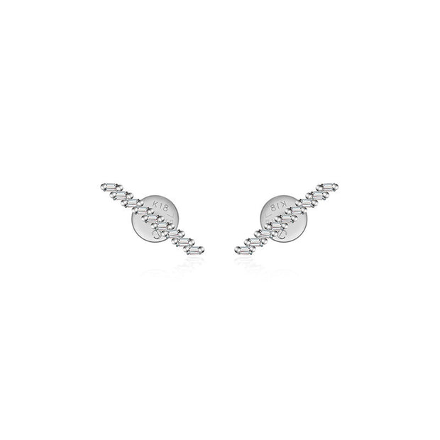 18k Gold Slash Line Diamond Earring - Genevieve Collection