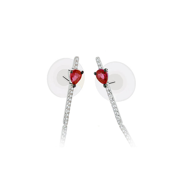 18k Gold Line Diamond Earring with Ruby - Genevieve Collection