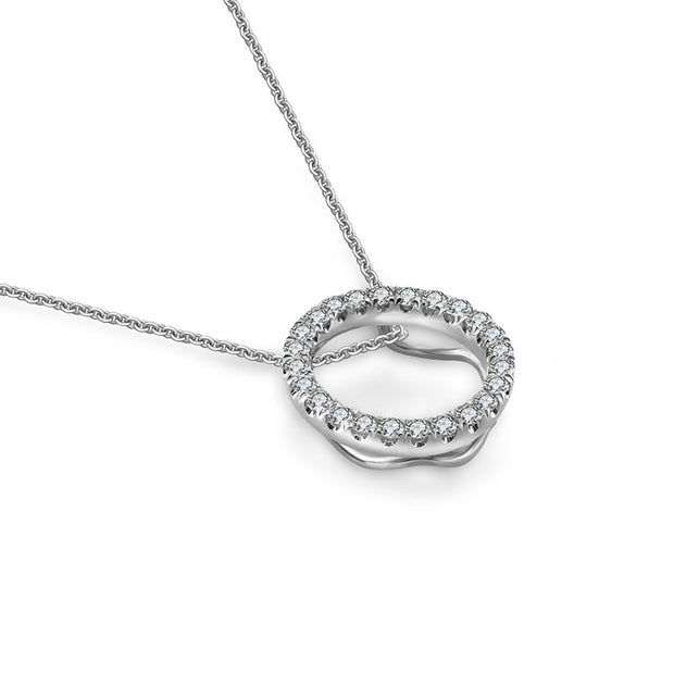 18k Gold Hollow Round Shape Diamond Necklace - Genevieve Collection
