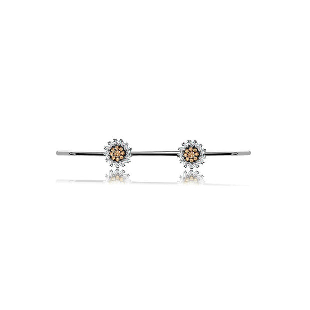 18k Gold Double Flower Shape Diamond Open Bangle - Genevieve Collection