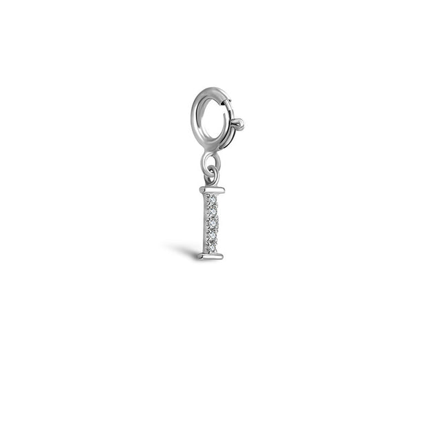 "18k Gold Letter ""I"" Diamond Charms - Genevieve Collection"