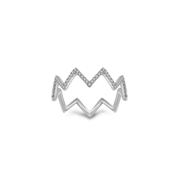 18k Gold Zigzag Diamond Ring - Genevieve Collection