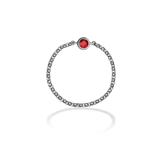 18k Gold January Birth Stone Garnet Chain Ring - Genevieve Collection