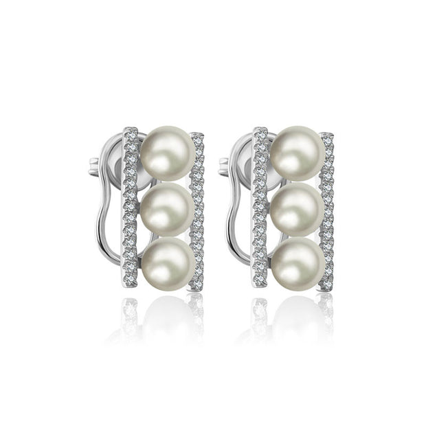 18k Gold Pearl Diamond Earring in Line Order - Genevieve Collection