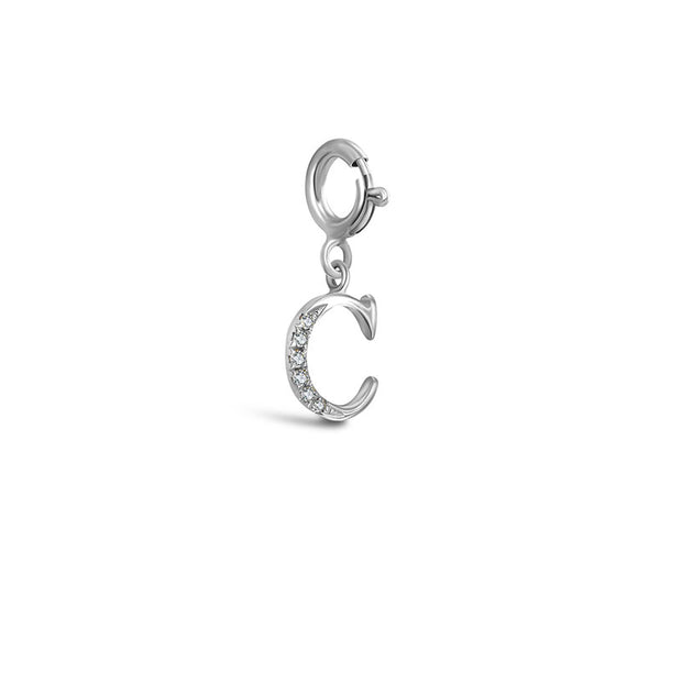 "18k Gold Letter ""C"" Diamond Charms - Genevieve Collection"