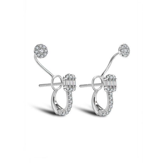 18k Gold Square and Round Shape Diamond Earring - Genevieve Collection
