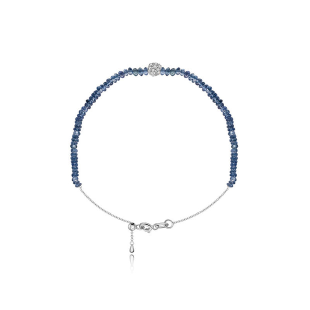 18k Gold Sapphire Beaded with Flower Shape Diamond Bracelet - Genevieve Collection